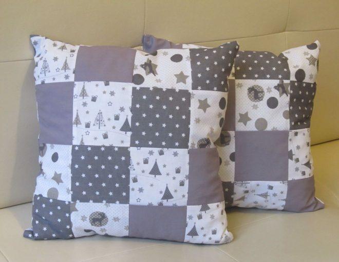 Оригинальные диванные подушки в технике лоскутного шитья