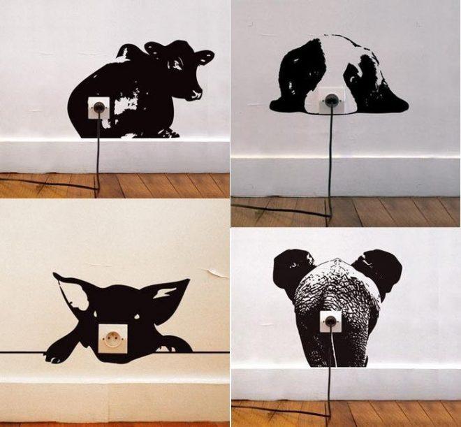 Варианты покупных виниловых наклеек на розетки в виде животных