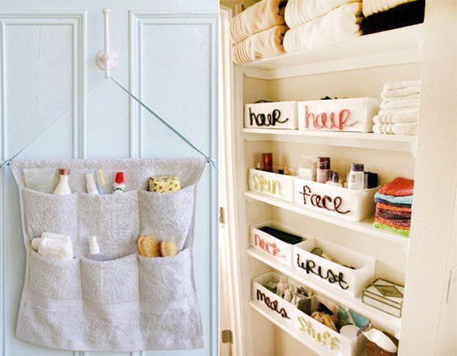 Организация вещей в ванной комнате