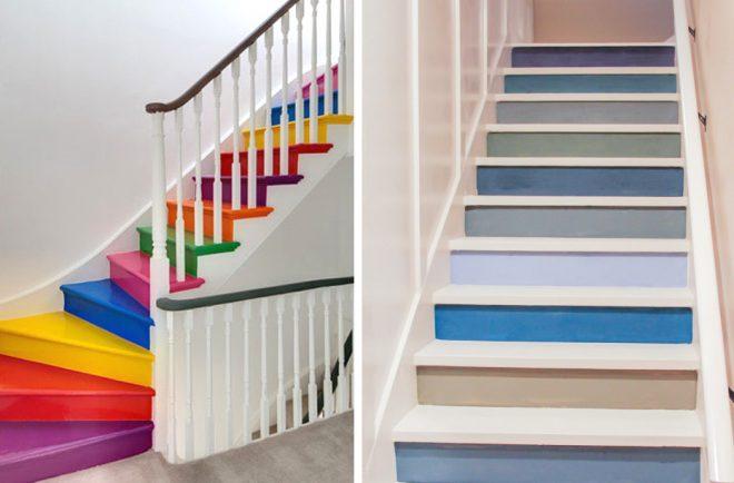 Окраска ступеней лестницы