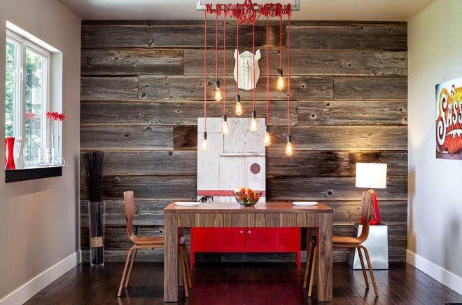 стена под дерево в интерьере на кухне