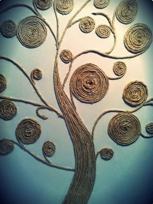 Дерево из бечёвки на стене
