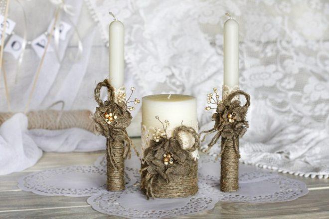 Декор свечей из бечёвки