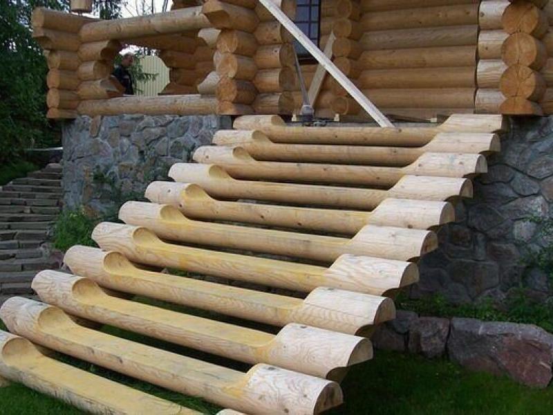 Лестница из бревен своими руками фото