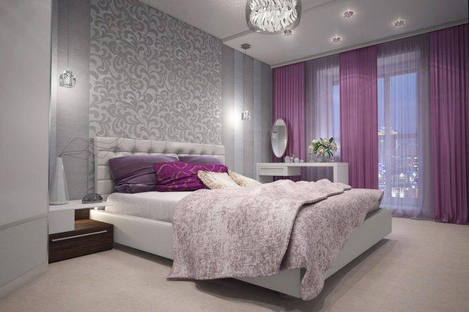 выделение обоями зоны кровати