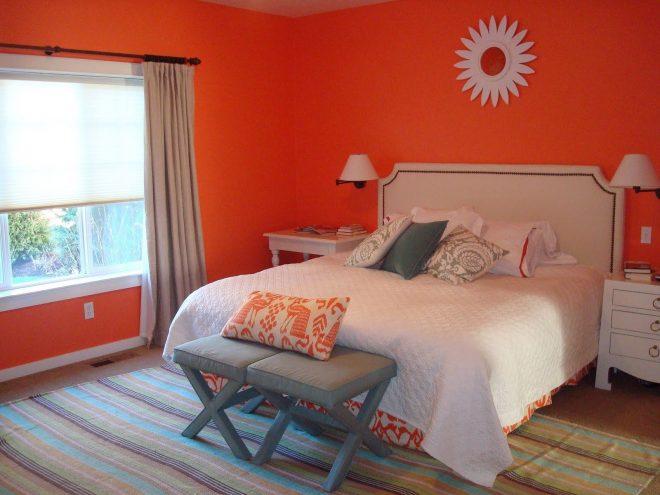 Выразительное оформление спальни в тёмно-оранжевом цвете