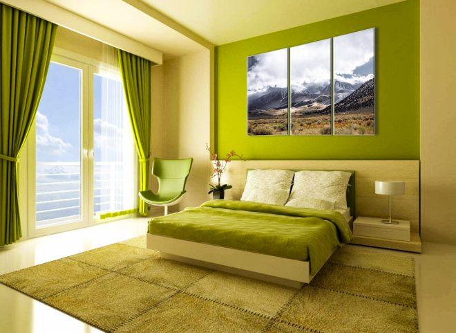 Природные оттенки зелёного в спальне