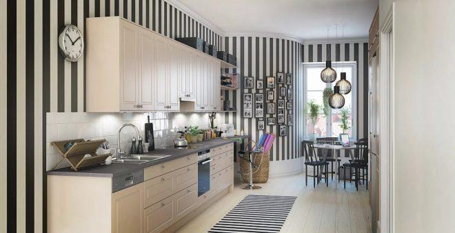 Чёрно-белая кухня с полосатыми обоями
