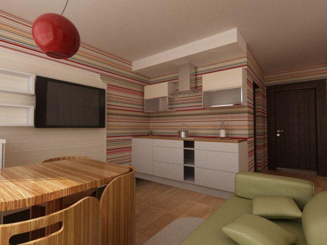 Кухонные стены в мелкую полоску