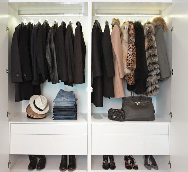 Двойной шкаф с поперечной штангой для верхней одежды