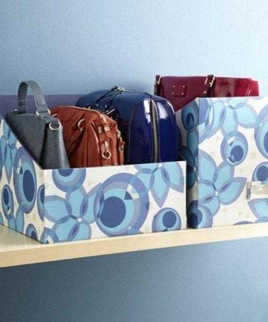 Хранение сумок в коробках