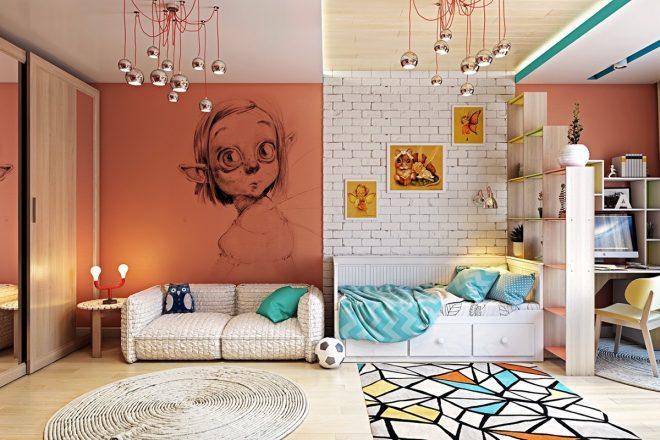 Белая кирпичная стена в комнате подростка