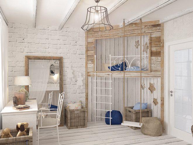 Кирпичная стена и деревянная мебель