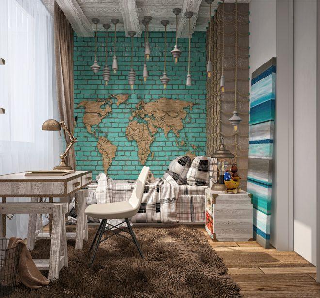 Бирюзовая кирпичная стена с декором в детской