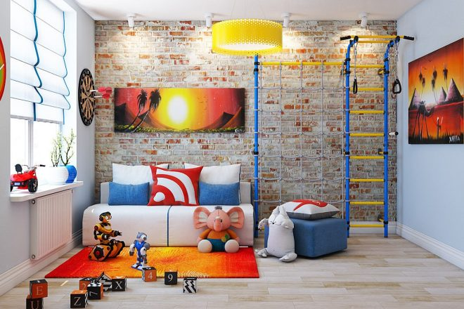 Кирпич в детской и разноцветная мебель и предметы декора