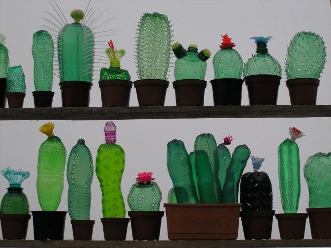 Кактусы из пластиковых бутылок