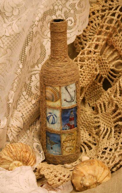Декор бутылки джутом