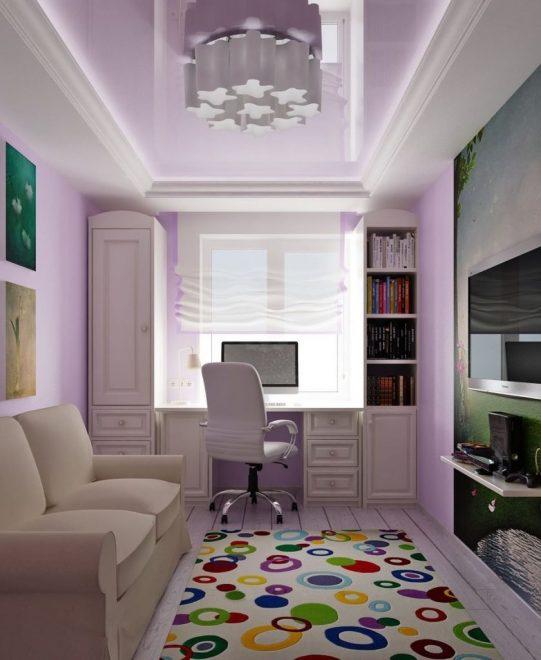 дизайн узкой комнаты в хрущевке для подростка девочки