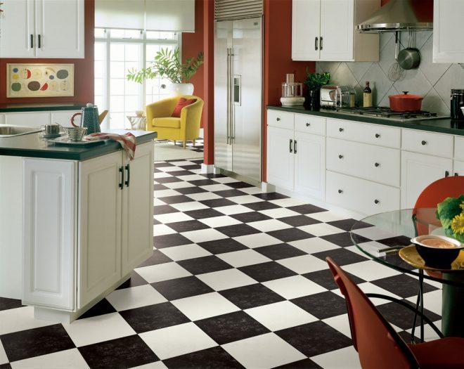 красивый линолеум на кухне