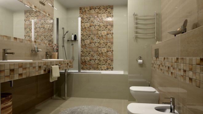 сочетание разной плитки в ванной
