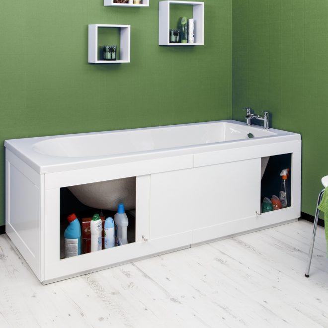 Хранение бытовой химии под ванной