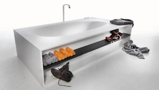 Полка под ванной для полотенец и одежды