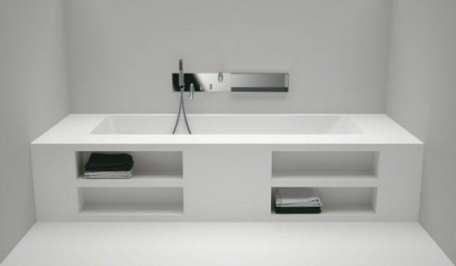 Полки для хранения полотенец под ванной