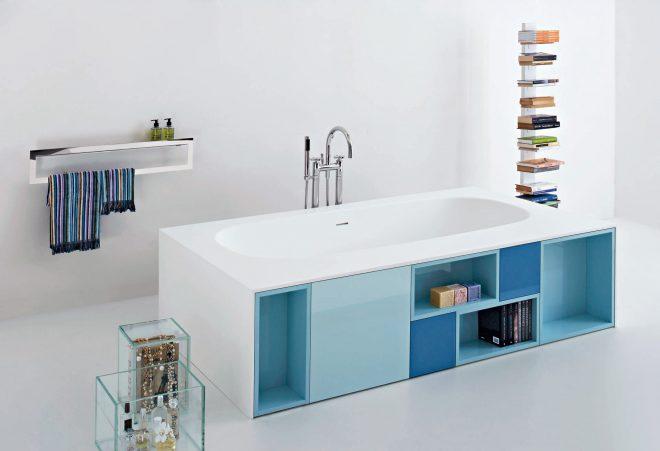 Оформление полок для хранения под ванной