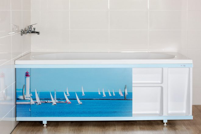 Оформление места хранения под ванной
