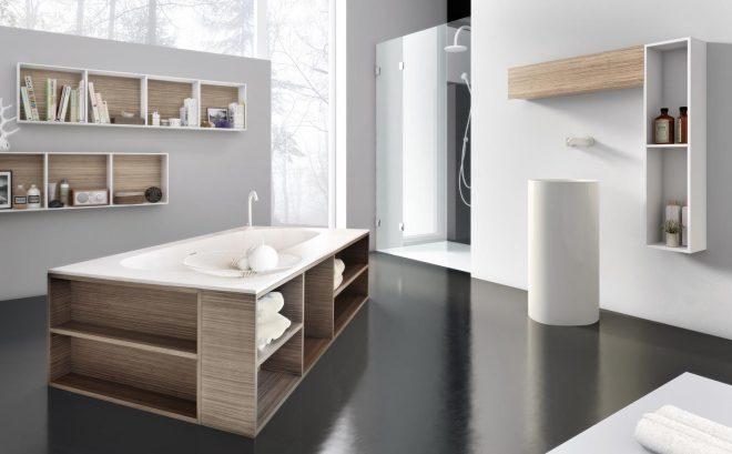 Деревянные полки для хранения под ванной
