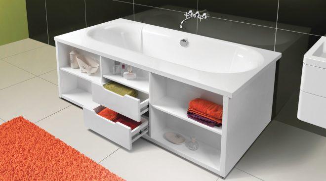 Как можно хранить вещи под ванной