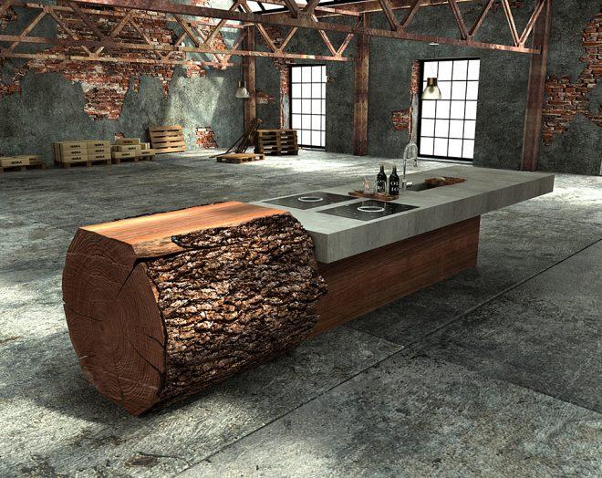 Стол из массивного бревна и бетона