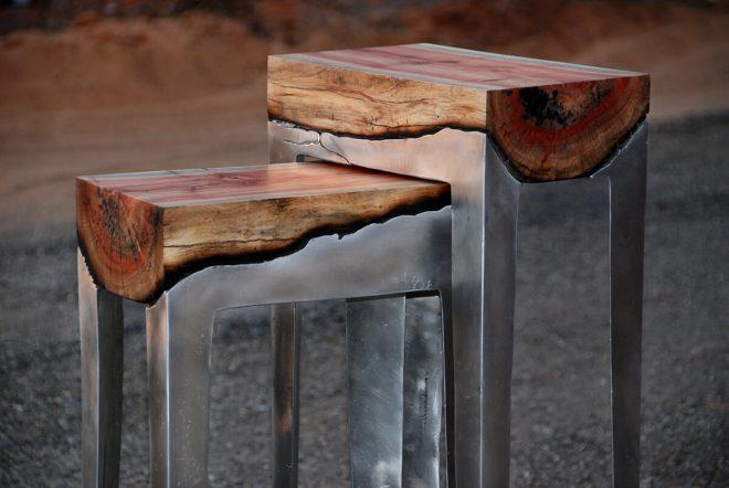 Табуретки из дерева и алюминия