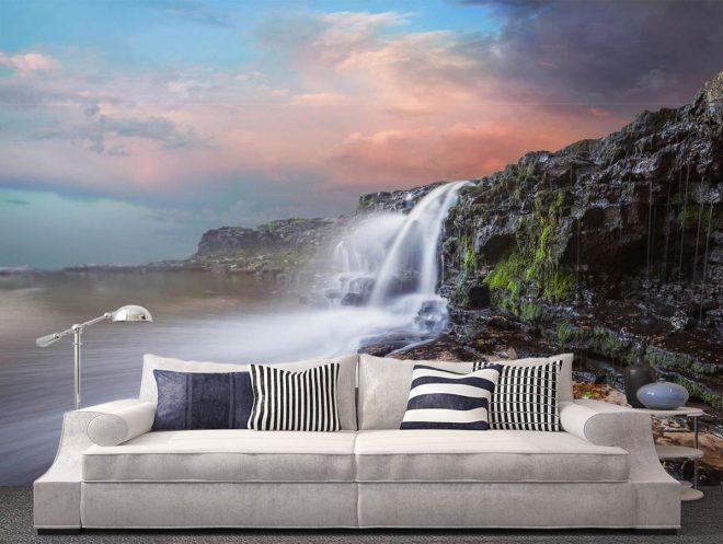 фотообои с водопадом в интерьере