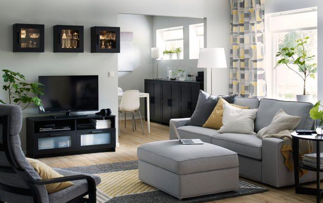 Светло-серый диван Икеа