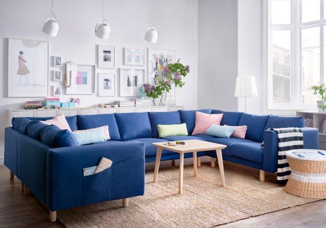 Ярко-синий диван Икеа
