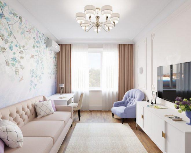 Гостиная в длинной и узкой комнате