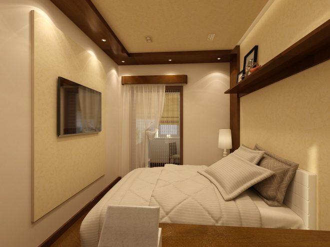 Спальня в длинной и узкой комнате