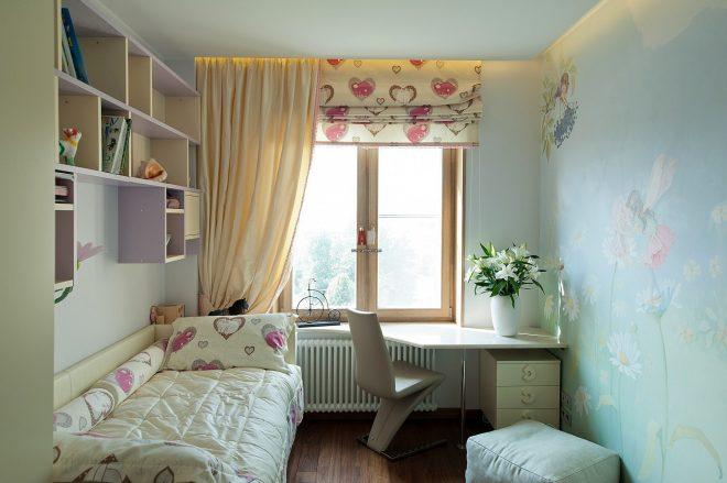 Детская в узкой и длинной комнате
