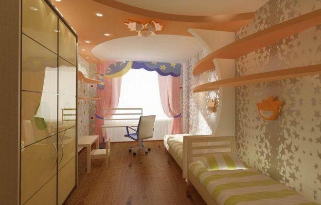 Дизайн детской в узкой комнате