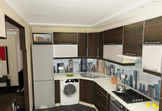 угловая кухня со стиральной машиной и холодильником