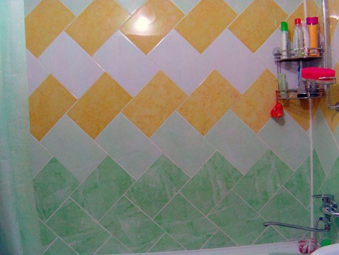 необычная раскладка плитки на стене в ванной