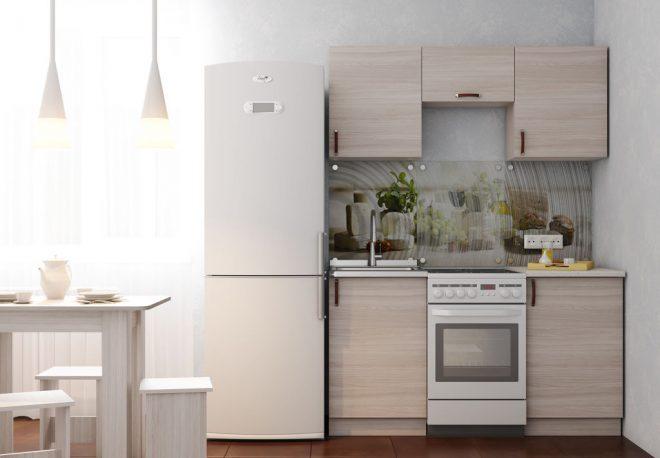 маленькая кухня вдоль стены