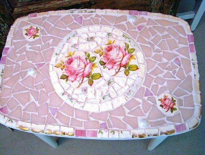 Декор стола из осколков вазы