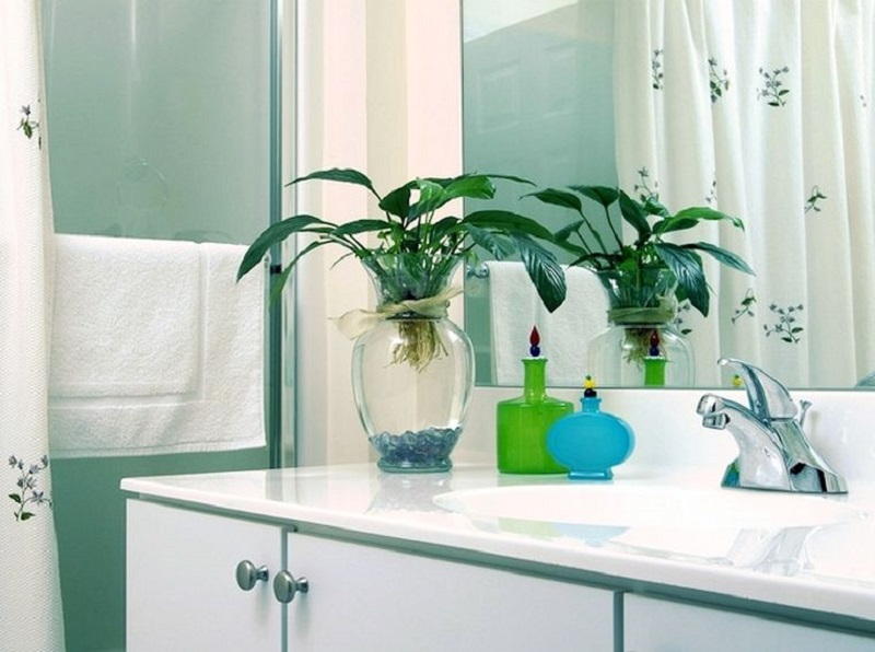 У зеркала в ванной